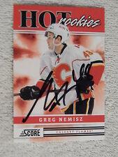 Calgary Flames Greg Nemisz Signed 11/12 Score Hot Rookies Card Auto
