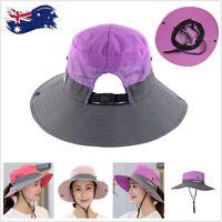Women Wide Brim Ponytail Hat UV Sun Visor Protection Summer Beach Floppy Cap AU
