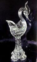 "MURANO ART GLASS VINTAGE ITALIAN CONTROLLED BUBBLES SWAN 15""H ELEGANT FIGURINE"