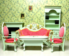 1/12 Dollhouse Miniature Living Room Furniture set Couch Sofa Fireplace Bookcase