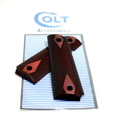 Factory Colt 1911 Gov Fullsize Diamond Checkered Red Rosewood Ambi Grips - NEW