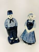 Vintage DELFT BLUE Porcelain Hand-Painted Salt & Pepper Shaker DUTCH BOY & GIRL