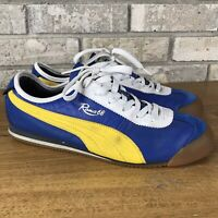 Rare PUMA ROMA 68 shoes  BLUE-YELLOW Men's size 11 Worn Athletic Running Skate