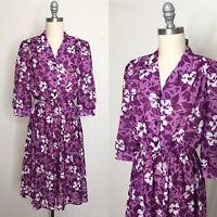 Vintage 80s California Looks Purple Polyester Floral Sundress Size Medium