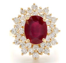 8.40 Carats Natural Red Ruby and Diamond 14K Solid Yellow Gold Ring