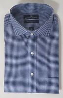 HART SCHAFFNER MARX MEN'S NON IRON COTTON SPREAD DRESS SHIRT BLUE CHECKED -NWT