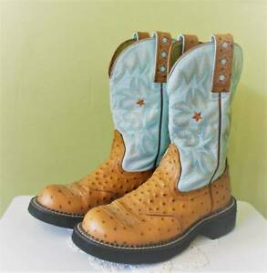 Ariat Fat boy Cowboy Boots Womens 6B Blue Tan Flame Star Leather 16729
