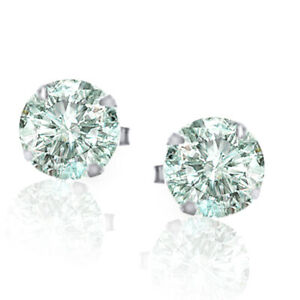 0.46 Ct Round Cut Blue Moissanite Mens Stud Certified 14K White Gold