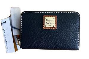 Dooney & Bourke Zip Around Black Credit Card Pebble Leather Small Wallet Case