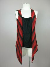 Heart Soul Women's Size L Red/Black Sleeveless Crew Neck Dressy Top 818