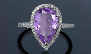 4Ct Pear Cut Purple Amethyst/Diamond Halo Engagement Ring 14K White Gold Finish