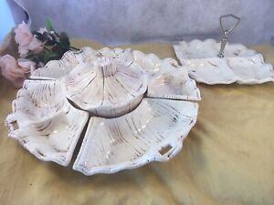 Vintage California Pottery Snack Set Lazy Susan Trays & bowl w/ Matching tray 92