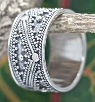 Handmade Solid Sterling Silver .925 Bali Unisex Dot Band Promise Ring. Cz Size.