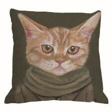 Ginger Cat Linen Square Pillow Cushion Cover.