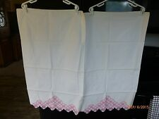 Pillowcases White Cotton Hand Crochet Pink Lace Trim Large Size One Pair