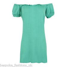 Ladies Women's Elasticated Off Shoulder Plain Short Sleeve Top Plus Size 14-28