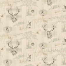 Dolls House Miniature Beige And Green Highland Animal Wallpaper