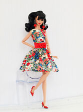 Bright flowered dress for Poppy Parker, Nu face by Olgaomi