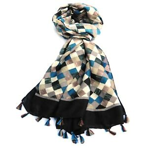 Harlequin Print Multi Colour Women Fashion Scarf with Tassels (Black)