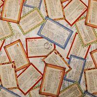 BonEful Fabric FQ Cotton Quilt US American Cottage Kitchen Farm Cook Recipe Card