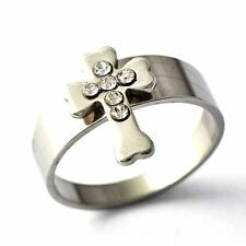 vogue stainless steel jewelry Cross crystal mens rings Size 8 9 10 11 12