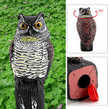 Realistic Owl Decoy Rotating Head Bird Pigeon Crow Scarer Scarecrow Action Fake