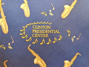 """ JAZZ AT THE BILL CLINTON PRESIDENTIAL CENTER "" ~ SILK NOVELTY TIE SAXOPHONE"