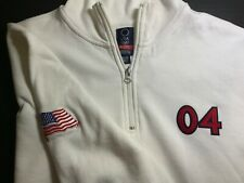 Roots Team USA Olympics '04 1/4 Zip White Sweatshirt, Size XL - Athens Games