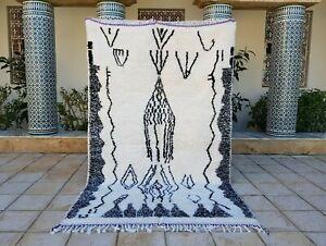 "Azilal rug 8'3""x4'11"" Moroccan Beni Ourain Rug Carpet handmade wool Azilal rug"