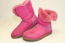 UGG Australia Womens 10 41 Bailey Button Perforated Pink Shearling Boots 3056