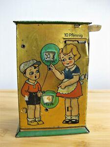 Alte Blech Spardose  für 10 Pfennige von MS - Michael Seidel, 1930er Jahre