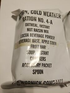 New Ration Cold Weather US RCW Army Ration A Menu Wornick Company McAllen Texas
