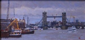 Oil On Board Paul Banning RI RSMA 'Construction Works From Rotherithe' Framed