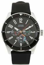 NEW-GUESS BLACK RUBBER BAND ,CHRONOGRAPH,BLACK DIAL WATCH-U95138G1