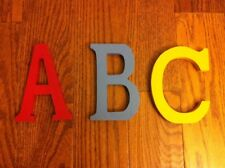 """Pottery Barn Kids Wall Art Letters ABC Alphabet 10"""" School Set of 3 Primary"""