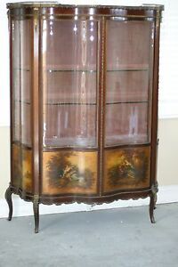 ANTIQUE FRENCH VERNIS MARTIN VITRINE SHOWCASE,CURVED GLASS DOORS HAND PAINTED