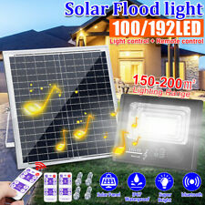 100W 200W 100/192LED Solar Flood Light Music bluetooth Outdoor Garden Wall Lamp