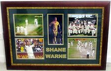 SHANE WARNE HAND SIGNED DISPLAY  WITH 5 PHOTOS ~ 95 cm x 67 cm FRAMED & GLAZED
