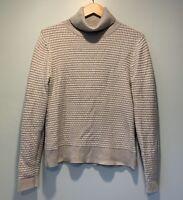 J Crew Womens Turtleneck Knit Sweater, Size Medium, Light Gray And White