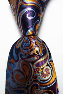 New Classic Paisley Black Blue Gold Purple JACQUARD WOVEN Silk Men's Tie Necktie