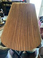 Vtg Tan Pleated Lamp Shade Plastic Lining. Material/paper Pleating