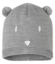 Petit Bateau Baby Mütze Strickmütze Bär mit Ohren und Gesicht grau 3-36 Monate