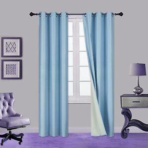 2PC LIGHT BLUE ADAM Foam Lined Heavy Thick Blackout Grommet Window Curtain Panel