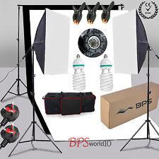 1250W Studio Soft Box Softbox Lighting Kit Black White Backdrop Background Stand