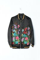 River Island Womens Embroidered Floral Detail Satin Bomber Jacket Size 6 (L-CC9)