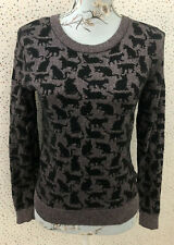 H&M Cat Mettalic Sparkly Pattern Jumper Approx Size 10