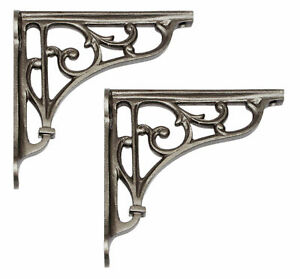 "Pair 5"" / 13cm Mini Cast Iron Edwardian Shelf Brackets decorative antique scroll"