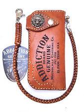 Handmade Leather Indian Skull biker trucker wallet brown motorcycle Chain wallet