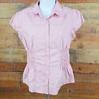 In Vain Blouse Women's Size L Pink Black Polka Dots Fitted Waist OB2