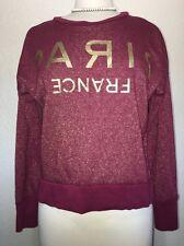 LOL Vintage Paris France Gold Glitter Plum Maroon Long Sleeve Sweater Small S